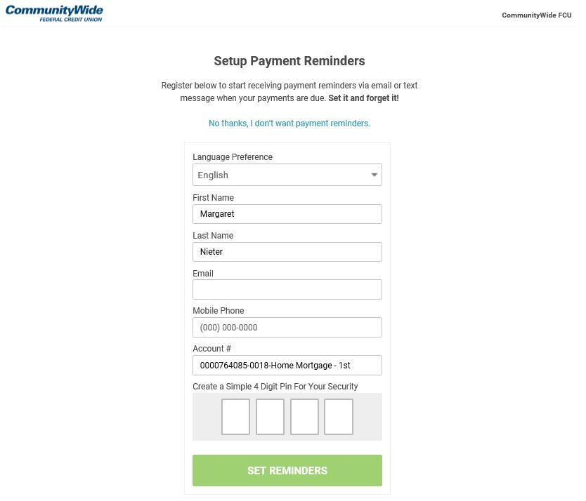 Payment Instruction Page Communitywide Federal Credit Union