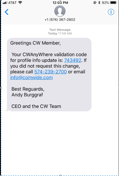 Validation Text