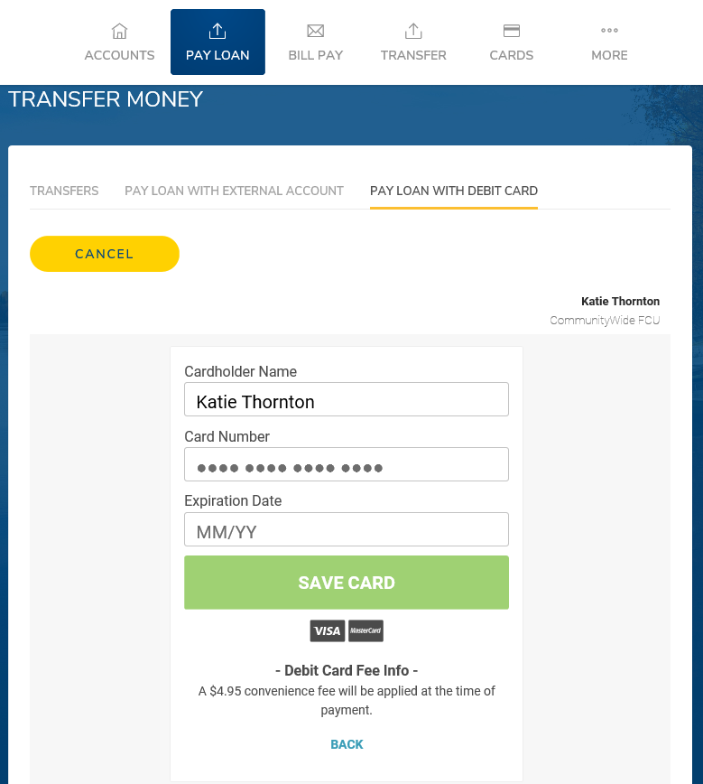 Debit Payment Fourth Screen